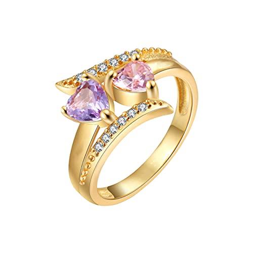 Anillo de oro con 2 piedras de nacimiento Simuladas para madres para parejas, anillo de San Valentín para mujer