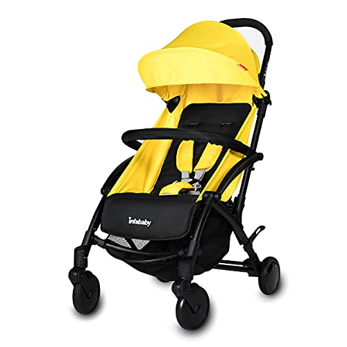Infababy® Ezeego Stroller Next Generation/Stylish Design/New Born to 3 Years Toddler/Comfortable 5 Backrest Positions/Free Raincover & Carry Bag/Suitable for Travelling - Bumble Bee