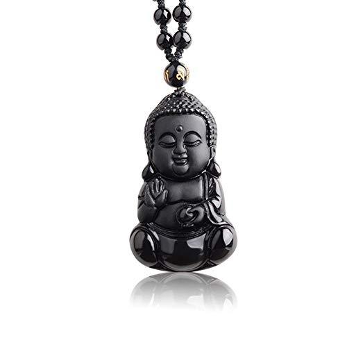 GLANGYU Natural Negro obsidiana Tallada Bebé con los Granos Lucky Amuleto Colgante de Buda Cadena joyería Pendiente Hombre Mujer (Metal Color : Rope Chain)
