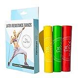 Set di 3 Elastici Fitness in Lattice Naturale 100% Fasce Bande Elastiche per Allenamento in Palestra Casa Fisioterapia Yoga Riabilitazione Pilates Ginnastica Sport di Gambe Braccia Spalla Glutei