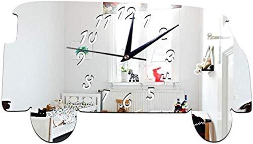 Orologio da parete Clode 45x25cm 3D DIY minibus specchio orologio da parete orologio set adesivo decorativo effetto specchio decalcomanie in vetro acrilico decorazione rimovibile casa