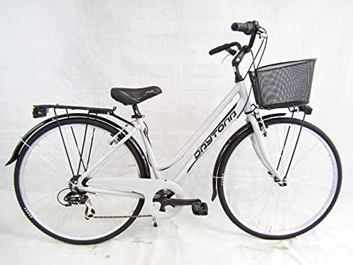 bicicletta donna bici da passeggio 28 city bike trekking telaio in alluminio (grigio)