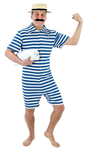 Adult 1920's Blue Beach Hunk Fancy Dress Costume by Palmer