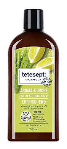 tetesept Formula Aroma-Dusche Limette & Zitronengras – Erfrischendes Duschgel mit natürlichem, ätherischen Öl aus der Aroma-Therapie – Vegan – 1 x 250 ml