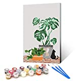 Ginkko Paint by Numbers for Adults Kids Beginners with Wooden Frame Easy Acrylic on Canvas 9x12 inch with Paints and Brushes, Longevity Leaf and Cat, Gift Package(Include Framed)