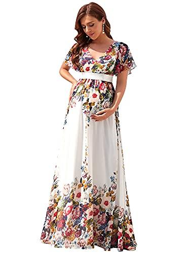 Ever-Pretty A-línea Vestido de Fiesta Fotográficas de Maternidad Mujer Largo Embarazada Escote V Manga Corta Gasa Blanco Floral 58