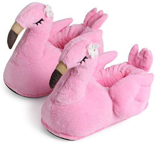 """corimori Süße Plüsch Hausschuhe (10+ Designs) Flamingo """"Tiffany"""" Slipper Einheitsgröße 34-44 Unisex Pantoffeln Pink Gold"""