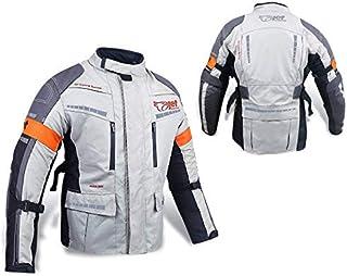 Jet Chaqueta Moto Hombre Textil Impermeable con Armadura Gris Plateado