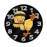 時計 壁掛け時計 アナログ クロック インテリア 丸型 サイレント 北欧 テコンドーのひな? 印刷 掛置兼用 フラットフェイス 家 寝室 居間 食堂 浴室 台所用 直径25cm 部屋装飾