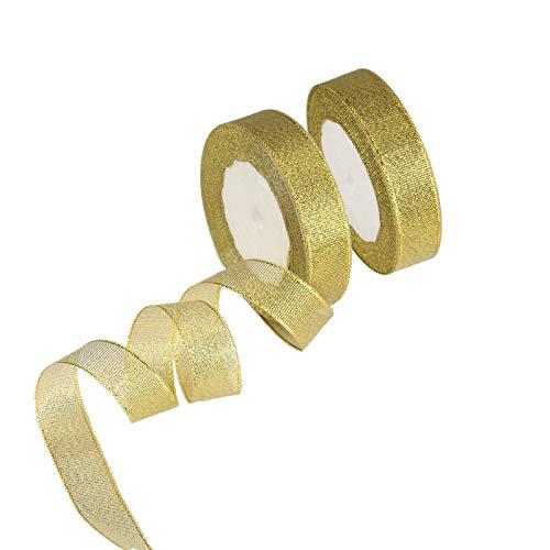 KAKOO 50Yard Glitter Dekoband 20mm Organza Band Schleifenband GOLDBAND Bastel für Hochzeit Weihnachten Geschenk Dekoration (GOLDEN)