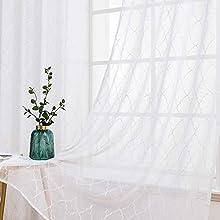 MIULEE 2 Hojas Visillos Bordados Cortinas Translucidas de Dormitorio Moderno Visillo Transparente con Anillas para Ventana Salon Habitación Matrimonio Sala Cuarto Comedor 140 x 245 cm Geometría Blanco
