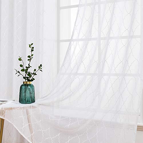 MIULEE 2 Hojas Visillos Bordados Cortinas Translucidas de Dormitorio Moderno Visillo Transparente con Anillas para Ventana Salon Habitación Matrimonio Sala Cuarto Comedor 140 x 145 cm Geometría Blanco