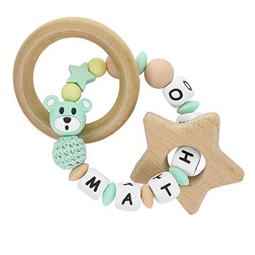 RUBY - Sonajero mordedor de madera y silicona orgánica personalizado con nombre. Oso I Love Mom, para bebes (Turquesa Pastel)