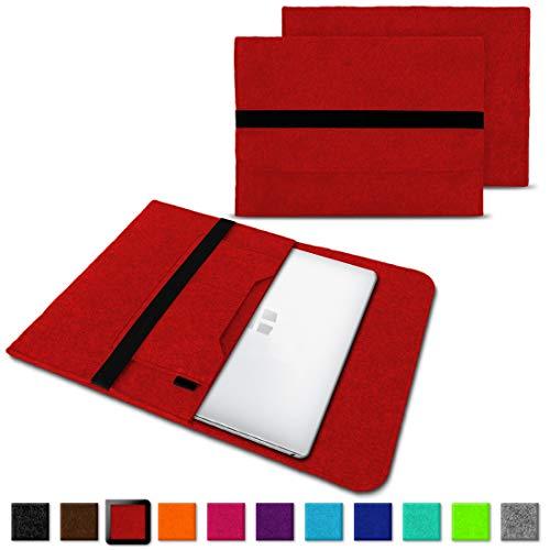 NAUC Laptoptasche Sleeve Schutztasche Hülle für Trekstor Surfbook W1 W2 Netbook Ultrabook 14,1 Zoll Laptop Filz Case, Farben:Rot