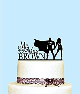 Wonder Woman And Superman Cake Topper, Customized Wedding Cake Topper Superhero Personalized Wedding Cake Topper, Monogram Cake Topper