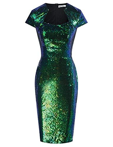 Women's Retro Vintage Cap Sleeve Midi Wiggle Sequin Pencil Dress Green XL