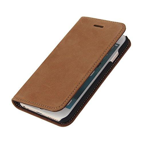 Wormcase Echt Ledertasche - für Apple iPhone 6S und iPhone 6 - Handytasche mit Kartenfach – Magnetverschluss - Braun – Leder Hülle kompatibel mit iPhone 6 und 6S