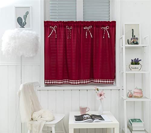 Dreamskull - Tende corte, stile campagna, vintage, oscuranti, corte, per cucina, a quadretti, 90 cm di altezza, set da 2 pezzi, colore: rosso vino