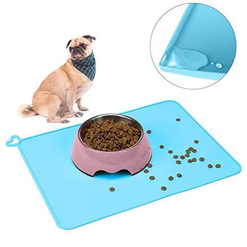 Wuudi rutschfeste Napfunterlage, Silikon Futternapf Unterlage Futtermatten Wasserdicht für Hund und Katze 41 x 31cm, Blau