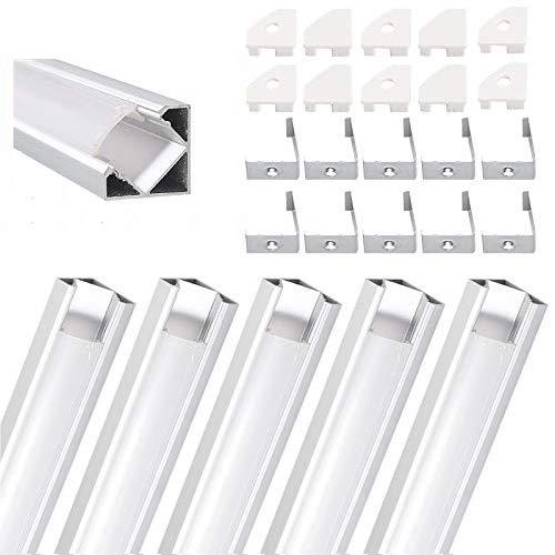 eSynic Perfil de Aluminio LED en Forma de V 5 PCS 1M para Tiras de LED Tira de Luces de hasta 12 mm Conducto de Aluminio para Tira de LED con Ttapas de Extremo y Montaje Universal