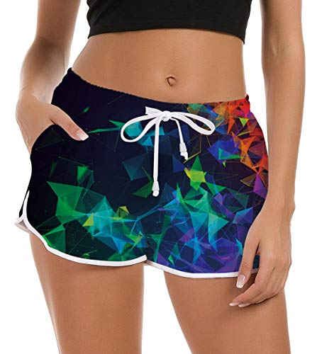 Fanient Damen Mädchen Bademode Badeanzug Hose 3D Gedruckt Tropische Hawaiian Style Badehose Sporthose Hotpant Bequeme Nachtwäsche Pyjamas Hosen L