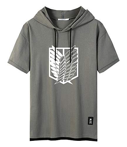 Cosstars Anime Titan Aufklärungstruppe Wappen Attack on Titan Kapuzenpullover Hoodie T-Shirt Herren Kurzarm Sweatshirt Hip Hop Jersey Tee Tops Green-1-2XL