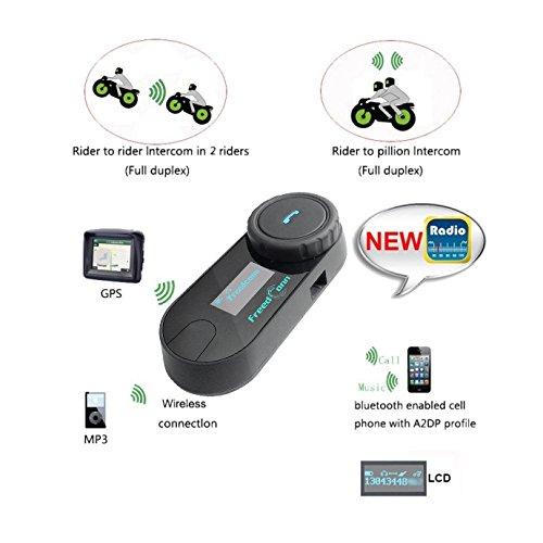 FreedConn Motorrad Intercom TCOM-SC Helm Bluetooth Headset-Gegensprechanlage für Motorrad-Skifahren LCD-Bildschirm / FM Radio / Freisprechen / Reichweite-800M / 2-3Riders Pairing / Schwarz - 6