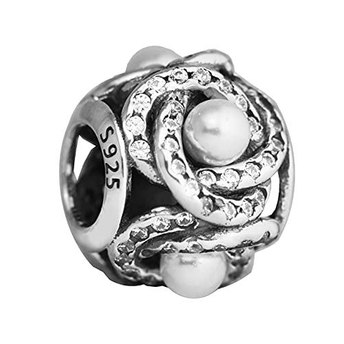 Charms 925 Silver Original Fit Pandora Pulseras Plata De Ley Luminous Love Knot Charm Beads Para Diy Joyería De Las Mujeres