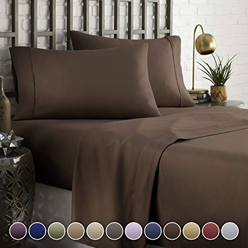 HC COLLECTION Hotel Luxury Comfort Bed Sheets Set, 1800 Series Bedding Set, Deep Pockets, Wrinkle & Fade Resistant, Hypoallergenic Sheet & Pillow Case Set(Full, Brown)