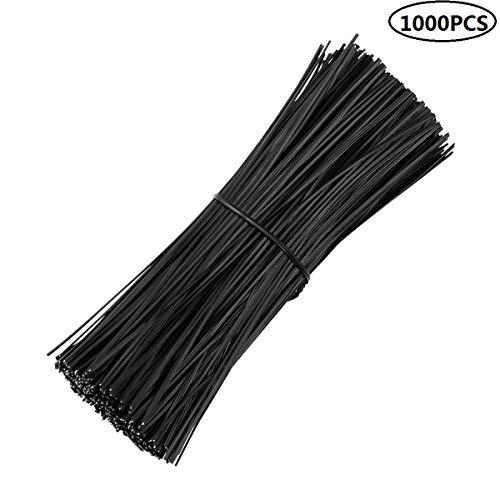 Yardwe 1000pcs Liens pour ligatures en Plastique Noir 6 Pouces Twist tie pour Plantes Cravates Treillis de Fil de Vigne pour Le Pain Sacs de Bonbons Organisateur de Lien de câble (Noir 6 Pouces)