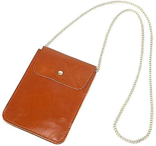 LEOCEE Bolso para teléfono con bolso sobre el hombro, cadena de embrague de cuero genuino de tacto suave, bolso de mensajero para mujer, billetera simple, cuerpo cruzado ultrafino