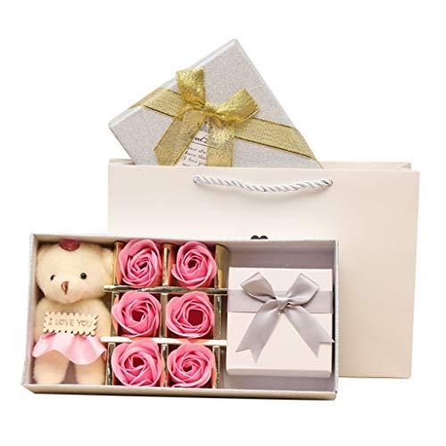 Winkey Rosafarbenes Gartennelkengeschenkbox-Hochzeitshaus des handgemachten Seifenblumenluxusblumenstraußes Süße zeit bär seife blume schmuck geschenkbox schmuckschatulle (Rot B)
