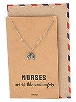 Quan Jewelry エンジェルウィングペンダントネックレス 看護師用 インスピレーションメッセージ入り グリーティングカードに書かれた天使の翼ネックレス 女性用 16~18インチまで調節可能