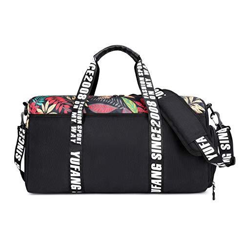 FANDARE Bolsa de Viaje Bolsa de Deporte 22 litros Bolsa de Gimnasio Bolso para Playa Bolsa Portátil para Hombres Mujeres Bolsa de Hombro para Actividades al Aire Libre Crossbody Bag Negro