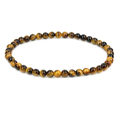 CHENYUE Natural AA Grade Golden Tiger Eye 4mm Round Beads Stretch Bracelet 7' Unisex