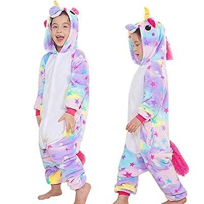 Yansion Los niños Unicornio Onesies Pijamas,Trajes de Cosplay con Capucha Ropa de Dormir Franela Unicornio Ropa de Dormir de Dibujos Animados Disfraces para niños Regalo de cumpleaños de Navidad(XL)