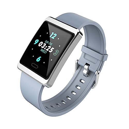 BOLEMAOYIFFF Pantalla de Colores Smart Watch Bluetooth Tarifa cardíaca de Ritmo cardíaco en la arteria electrónica (Color : Silver Gray)