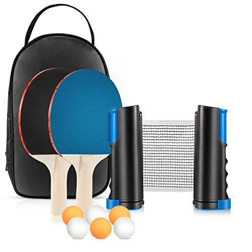 Tencoz Set da Ping Pong Portatile con Rete Regolabile, 2 Racchette e 6 Palline Professionali, Ping Pong Set da Tavolocon Borsa per Casa Uso Interno Esterno Gioco di Bambini e Famiglia