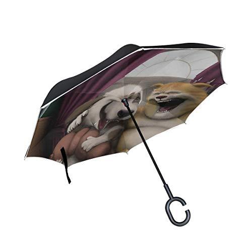 Hund Katze Kunst Humor Aquarium Inverted Umbrella Große Doppelschicht Outdoor Regen Sonne Auto Wendeschirm