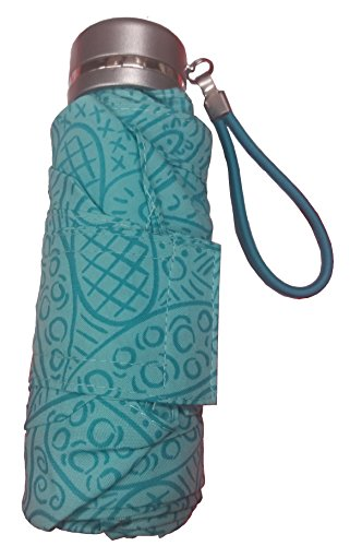 Totes Micro Travel Umbrella 38' arc. Water Repellency Application, Paisley Turquoise,