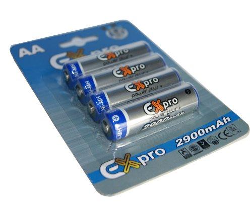 Ex-Pro 2900mAh-4 - Confezione da 4 batterie ricaricabili stilo AA ad alta capacità specifiche per f