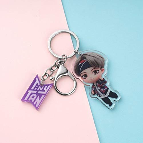 YUY Bts Cartoon Q Version Keychain Acrylic Fashion Durable Key Ring Backpack Wallet Pendant Best Gift For Men And Women Fans,V