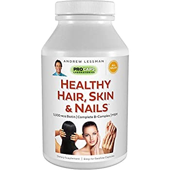 Andrew Lessman Healthy Hair Skin & Nails 240 Capsules – 5000 mcg High Bioactivity Biotin MSM Full B-Complex Promotes Beautiful Hair Skin and Strong Nails - No Additives Easy to Swallow Capsules