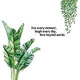 1 Set Leaves Wandaufkleber, 90 x 60 cm Bananenblatt Wandaufklebermit warmen Slogan für Schlafzimmer Wohnzimmer Tür Dekor