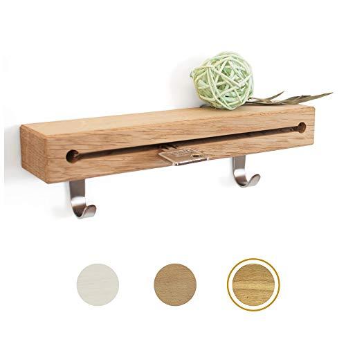 ELS® Schlüsselbrett aus Holz mit extra Garderobenhaken - Auswahl an verschiedenen Größen und Hölzern - Schlüsselboard aus hochwertigem Echtholz für eine Lange Lebensdauer [Eiche - 20cm]