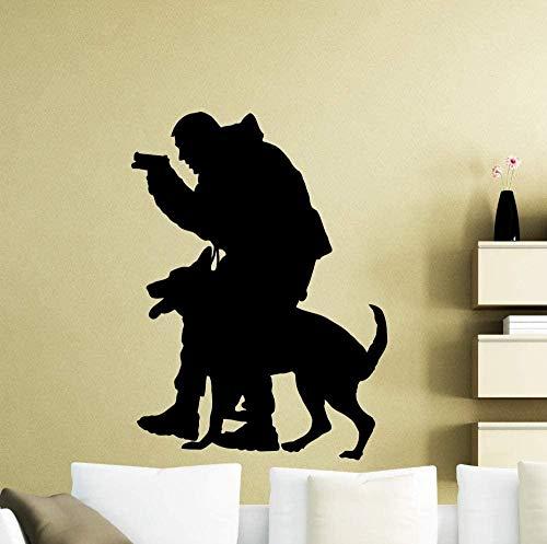 56x76cm Gamer Police Dog Animal oficial Pintura interior Moda juvenil Etiqueta de la pared creativa