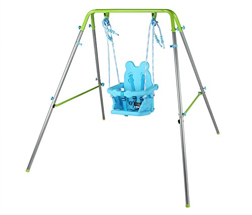 hlc Columpio Infantil Plegable/Diseño de Panda/Columpio para bebé de 9-36 Meses/Azul-Verde