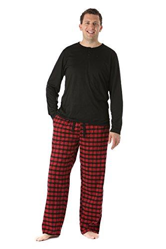 44911-5-XL #FollowMe Pajama Pants Set for Men / Sleepwear / PJs, Black/Red Plaid