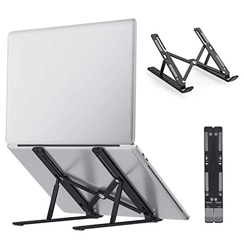 Laptop Stand, Adjustable Laptop Riser Stand for Desk, Portable Foldable Aluminum Laptop Stand Holder Cradle, Compatible with MacBook Pro/Air, iPad, HP, Dell, Lenovo (Up to 15.6') - Black