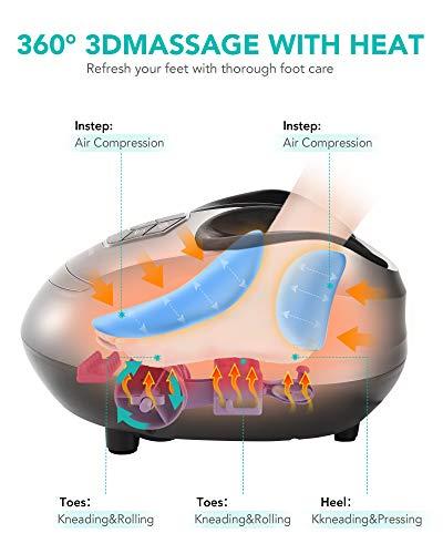 4168XvNA2aL. SL500  - Naipo Masajeador de Pies Masaje Shiatsu Rodillos Amasamiento con Calor, Intensidad Regulable y Función Compresión de Aire